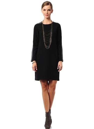 Asymmetry Uzun Kollu Düz Elbise Siyah